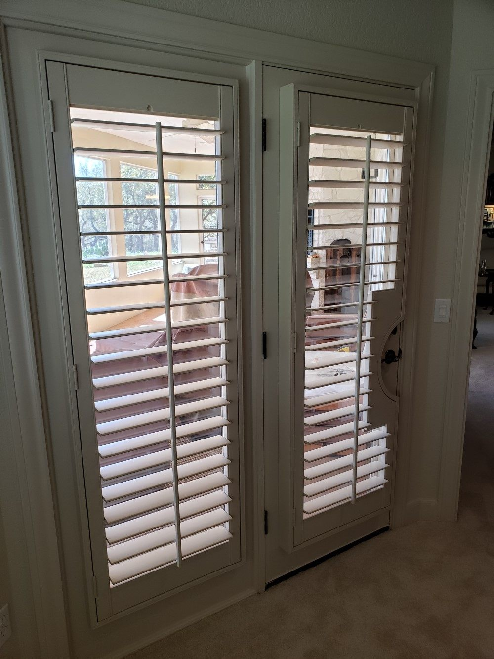 Elegant custom color shutters installed in Fair Oaks Ranch, TX